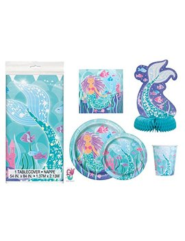 Deluxe Mermaid Birthday Party Supplies Pack   Serves 16   Tablecloth, Plates, Napkins, Cups And Centerpiece Decoration by Mermaid