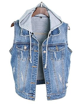 Life She Womens Sleeveless Vintage Drawstring Denim Vest Jackets With Hood by Life She