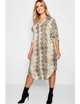 Plus Snake Print Shirt Dress by Boohoo
