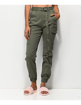 Almost Famous Belted Olive Cargo Pants by Almost Famous