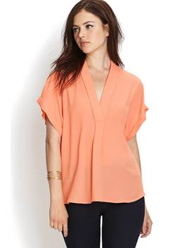 Contemporary Minimal V Neck Top by Forever 21