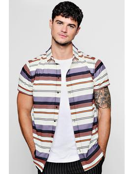 Horizontal Stripe Crepe Short Sleeve Shirt by Boohoo