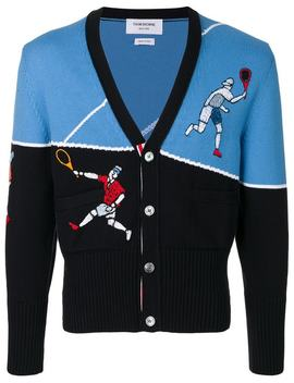 Thom Brownev Neck Tennis Player Embroidered Cardiganhome Men Thom Browne Clothing Cardigansclassic Chinosv Neck Tennis Player Embroidered Cardigan by Thom Browne