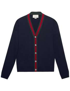 Gucci Wool Cardigan With Webhome Men Gucci Clothing Cardigans by Gucci