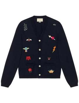 Gucci Embroidered Wool Knit Cardiganhome Men Gucci Clothing Cardigans by Gucci