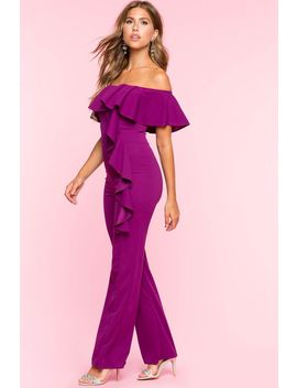 Ruffle Off Shoulder Jumpsuit by A'gaci