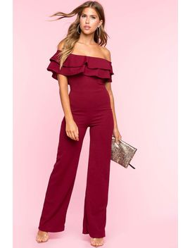 Flounce Off Shoulder Jumpsuit by A'gaci