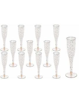60 Pc Gold Glitter Classicware Glass Like Champagne Wedding Parties Toasting Flutes (1 Box = Quantity 60) by Oojami
