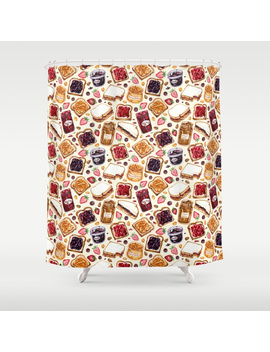 Peanut Butter And Jelly Watercolor Shower Curtain by