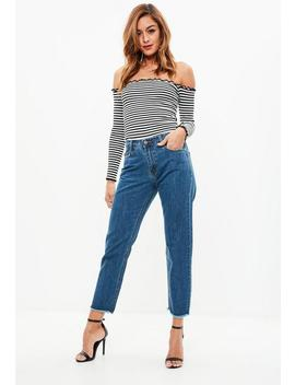 Blue Wrath Straight Leg Mid Rise Clean Cut Hem Jeans by Missguided