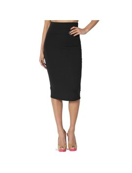 The Mogan Women's Foldover Waistband High Waist Pull On Stretchy Pencil Midi Skirt by Walmart