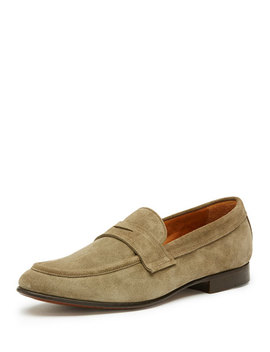 Men's Aiden Suede Penny Loafer, Gray by Frye