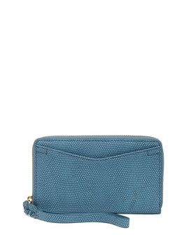 Caroline Phone Snake Embossed Leather Wallet Wristlet   Rfid Protection by Fossil