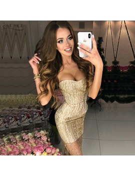 Adyce 2018 New Summer Women Bandage Dresses Sequined Beads Embellished Strapless Dress Sexy Celebrity Party Dress Club Vestidos  by Adyce