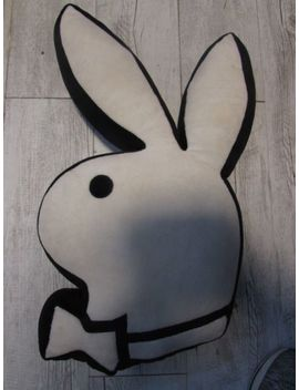 "Vintage Rare Old Playboy Bunny Pillow 21"" White & Black Stuffed Hugh Hefner 2003 by Ebay Seller"