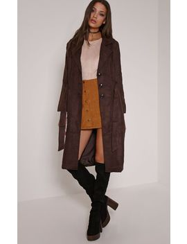 Elinor Chocolate Faux Suede Trench Coat by Prettylittlething