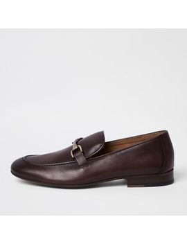 Dark Red Leather Snaffle Loafers by River Island