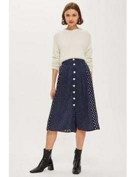 Spot Button Pleat Midi Skirt by Topshop