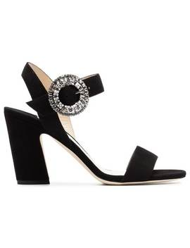 Black Mischa 85 Suede Leather Sandals by Jimmy Choo