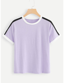 Round Neck Ringer Tee by Sheinside