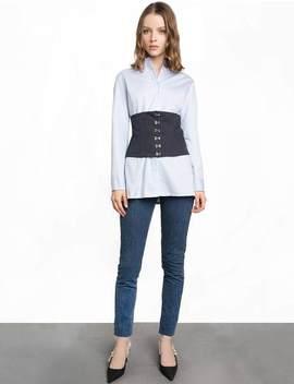 Pinstripe Corset Shirt by Pixie Market