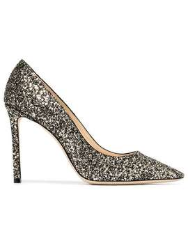 Gold Romy 100 Glitter Leather Pumps by Jimmy Choo