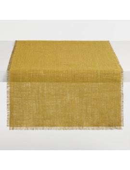 Oversized Olive And Chartreuse Jute Reversible Table Runner by World Market