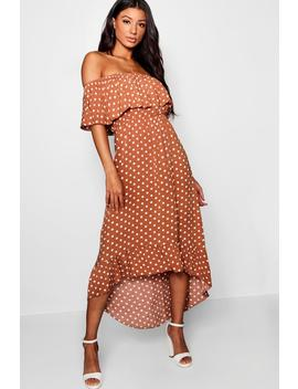 Woven Polka Dot Print Bardot Maxi Dress by Boohoo