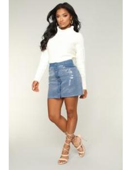 Shine Brighter Sequin Denim Skirt   Blue by Fashion Nova