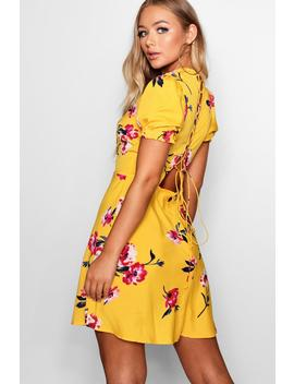 Lace Up Back Floral Skater Dress by Boohoo