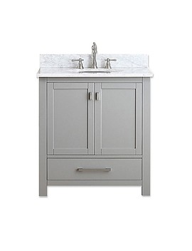 Avanity Modero 31 Inch Vanity In Grey With Carrera White Marble Top by Bed Bath And Beyond