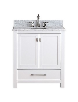 Avanity Modero 31 Inch Single Vanity Combo With White Marble Top And Mirror In White by Bed Bath And Beyond