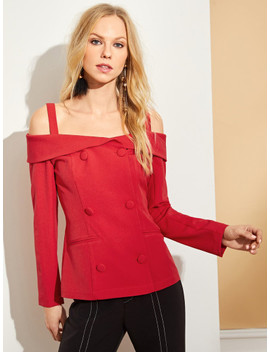 Cold Shoulder Double Breasted Blazer by Shein