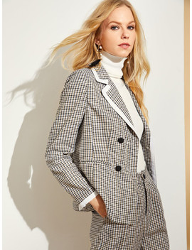 Contrast Binding Double Breasted Plaid Blazer by Shein