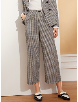 Solid Rolled Hem Palazzo Pants by Shein