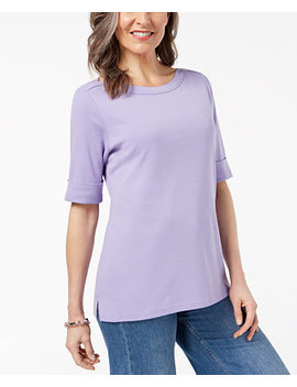 Cuffed Boat Neck Top, Created For Macy's by Karen Scott