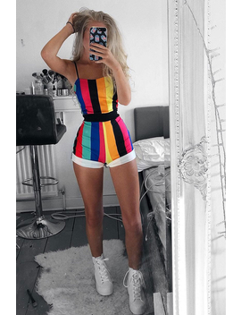 Multi Stripe Playsuit  Tamiya by Rebellious Fashion