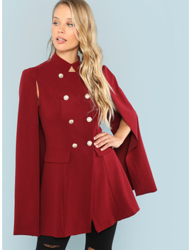 Double Button Stand Collar Coat by Shein