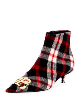 Bb Logo Plaid Flannel Booties by Balenciaga