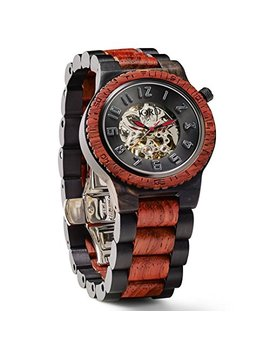 Jord Wooden Watches For Men   Dover Series Skeleton Automatic / Wood Watch Band / Wood Bezel / Self Winding Movement   Includes Wood Watch Box (Ebony & Rosewood) by Jord