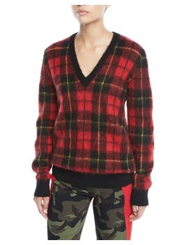 V Neck Tartan Pullover W/Animal Print Elbow Patches by Michael Kors Collection