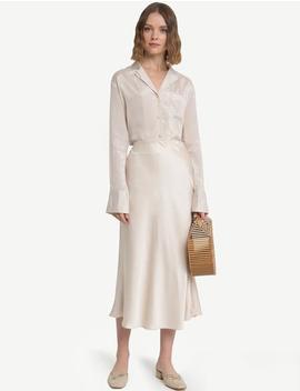 Rene Beige Satin Long Skirt  15% Off by Pixie Market
