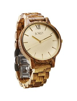 Jord Wooden Wrist Watches For Men Or Women   Frankie Minimalist Series / Wood Watch Band / Wood Bezel / Analog Quartz Movement   Includes Wood Watch Box (Zebrawood & Champagne) by Jord