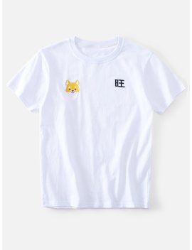 Men Dog And Chinese Embroidery Tee by Romwe
