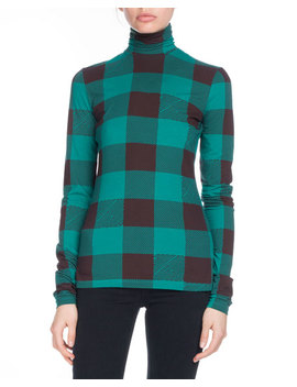 Pswl Turtleneck Long Sleeve Plaid Cotton Top by Proenza Schouler