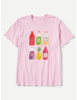 Men Juice Bottles Print Tee by Romwe