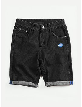 Men Rolled Hem Denim Shorts by Romwe