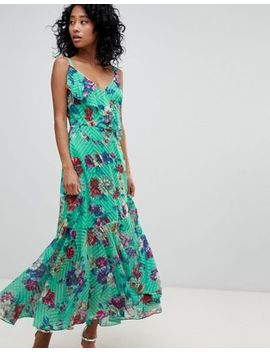 Asos Design Floral Print Ruffle Front Maxi Dress by Asos Design