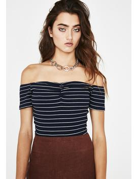 Navy Can't Even Stripe Top by Re Named
