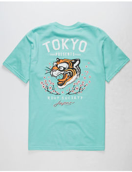 Riot Society Tiger Blossom Mint Mens T Shirt by Riot Society